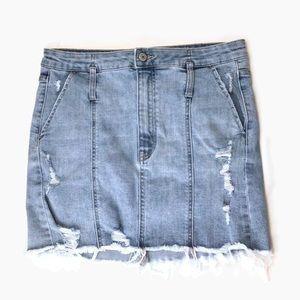VERVET   High Waisted Denim Jean Skirt Distressed